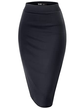 600411a67 Working Skirts for Women Knee Length Office Skirt Pencil Bodycon Elastic  Waist Stretchy Plain Size S