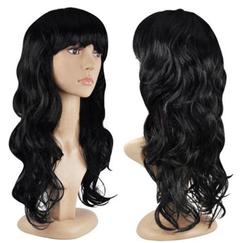 Price comparison product image DatConShop(TM) Women's Fashion Wig Curly Hair Wigs With Bangs Black Long Hair Wig