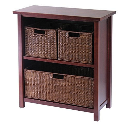 Unique Design Lavallie 3 Basket Drawer Storage Shelf with 2 Shelves Made w/ Solid Wood in Walnut Finish 30'' H x 28'' W x 13'' D in. (Posts Finish Walnut Wood)
