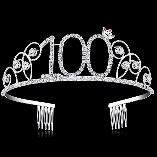BABEYOND Crystal Birthday Tiara Crown Princess Birthday Crown Hair Accessories Happy 100th Birthday Crown Tiara for Women (100 Birth)]()