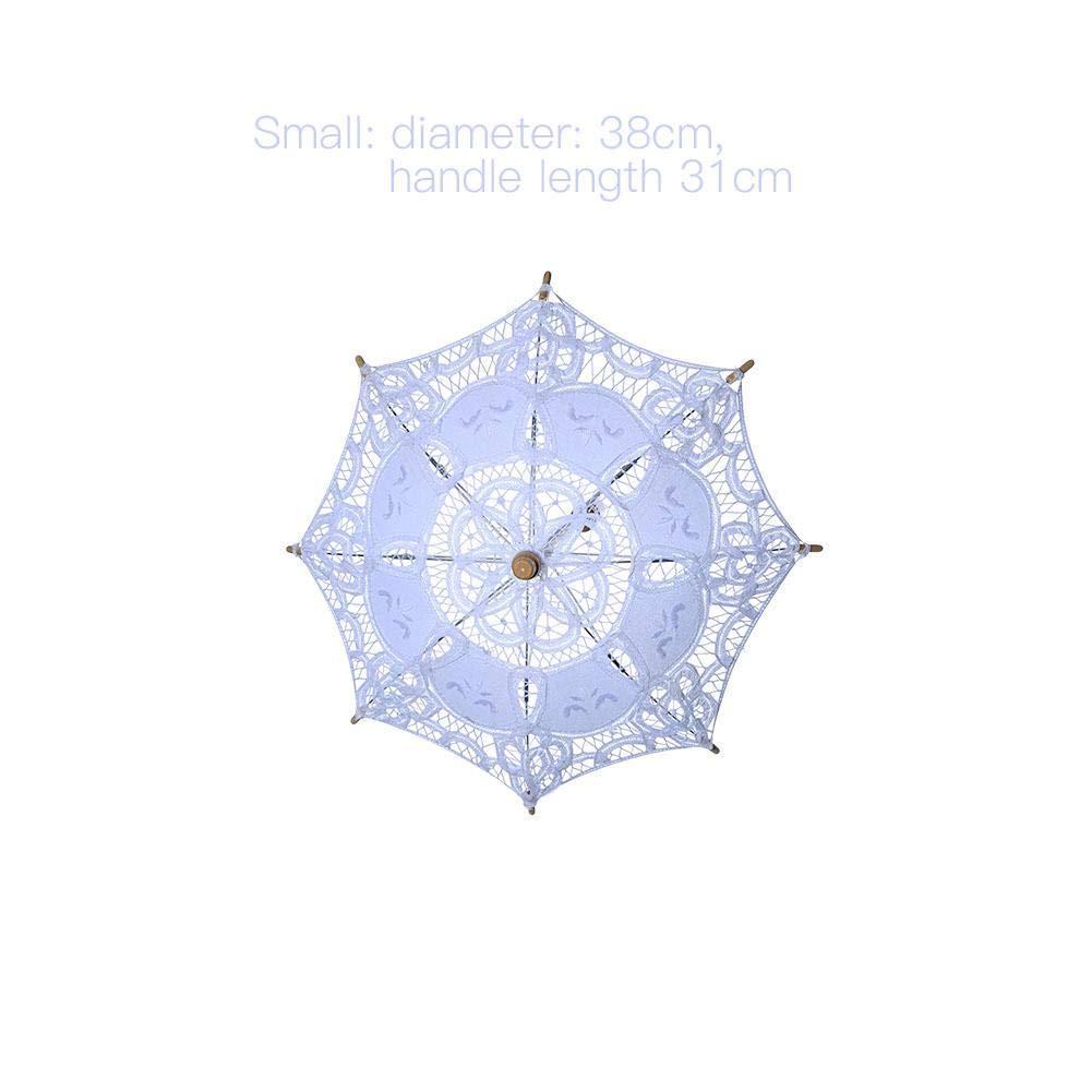 Lembeauty Manche en Bois Creux Out Dentelle Parapluie Fille Parapluie pour Mariage Motif Fleur Photographies Crafts Beige-31cm