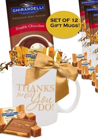 Set 12 Thanks You Cocoa & Chocolate Gift Mugs/Holiday Cocoa Mug/Cocoa & Chocolate Mug/Ghirardelli Cocoa & Chocolate Squares/Corporate Thank You Gifts/Holiday Gift Mug/Business Mugs/Ghirardelli Cocoa Mugs