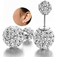 Paweenaso Fashion Womens 925 Silver Double Crystal Ball Ear Stud Earrings Jewelry
