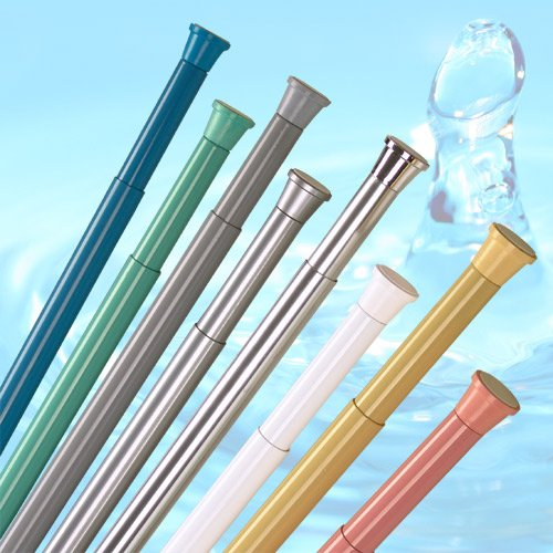 size from 55cm to 90cm 22-35 White Extendable Spring Loaded Shower Curtain Rod Rail 27mm diameter