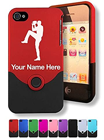 Case for iPhone 4/4s - Baseball Pitcher - Personalized Engraving Included (Personalized Iphone 4s Phone Case)