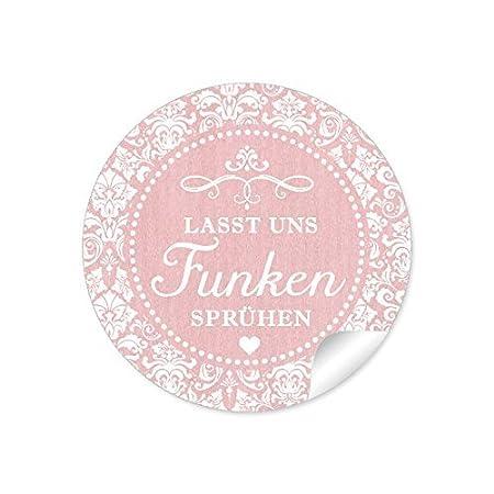 Set di 2 fogli da 24 adesivi:Lasst Funken Spr/ühen 48 etichette in gesso effetto lavagna per candele magiche//confezioni per matrimonio Adesivo di carta rotondo opaco 4 cm