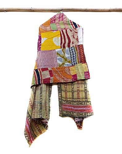 Indian Cotton Kantha Fashion Scarf Reversible Bohemian Handmade Head Band patchwork