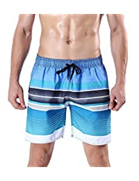 ORANSSI Men's Quick Dry Swim Trunks Stripes Printed Beach Shorts Bathing Suit