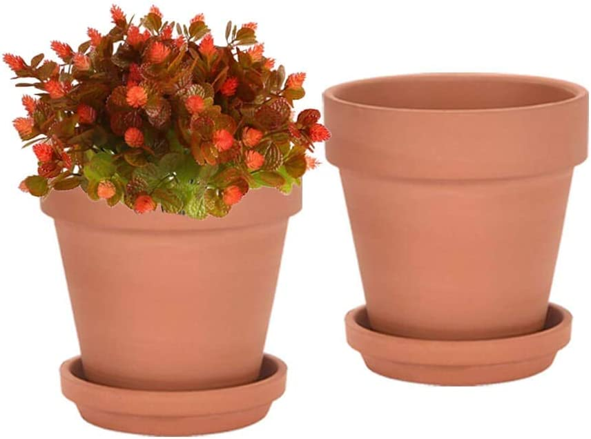 8 Inch Clay Pot for Plant with Saucer - 2 Pack Large Terra Cotta Plant Pot with Drainage Hole, Clay Planters Pot, Terracotta Pot for Indoor Outdoor Plant