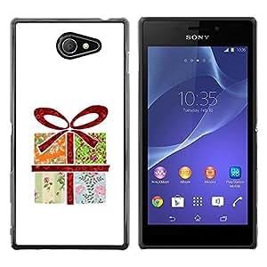 Be Good Phone Accessory // Dura Cáscara cubierta Protectora Caso Carcasa Funda de Protección para Sony Xperia M2 // Wrapped Gift Art Drawing Bow Birthday