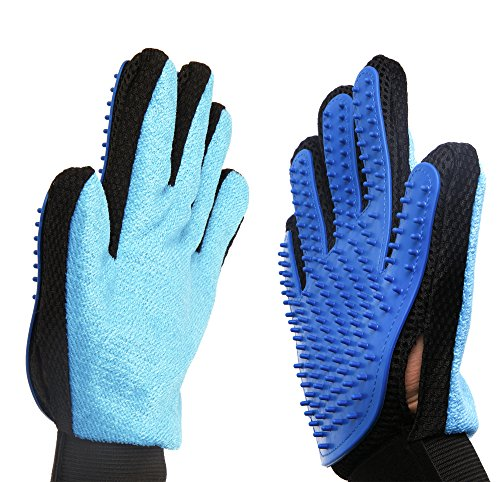 2-in-1 Pet Glove: Grooming Tool + Furniture Pet Hair Remover Mitt Pet Grooming Glove Brush Mitt Shedding Glove Tool Pet Massage Glove Bathing Brush Comb for Dogs, Cats, Horses, Bunnies (Home Goods Mcallen)