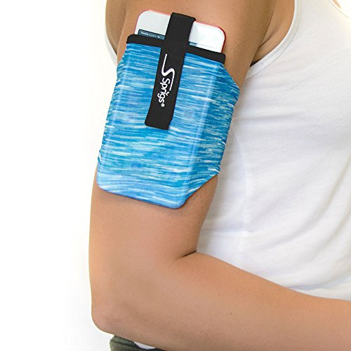 Sprigs Armband for iPhone x/8/7/6 Plus, Galaxy S7/S6, Google Pixel XL. The Lightest & Most Comfortable Running Armband, Stretches To Fit All Phones With Case - Blue Melange, Medium by Sprigs (Image #3)