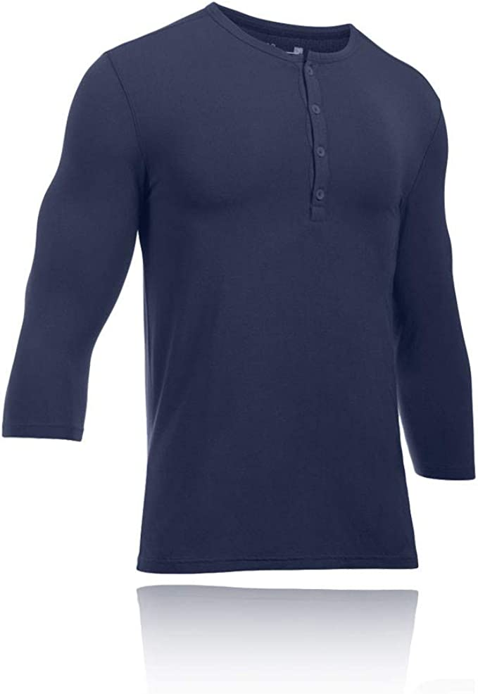 Under Armour Mens Athlete Recovery Ultra Comfort Sleepwear Henley Navy Blue