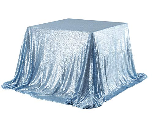 Poise3EHome 50x50 Square Sequin Tablecloth for Party Cake Dessert Table Exhibition Events, Baby Blue ()