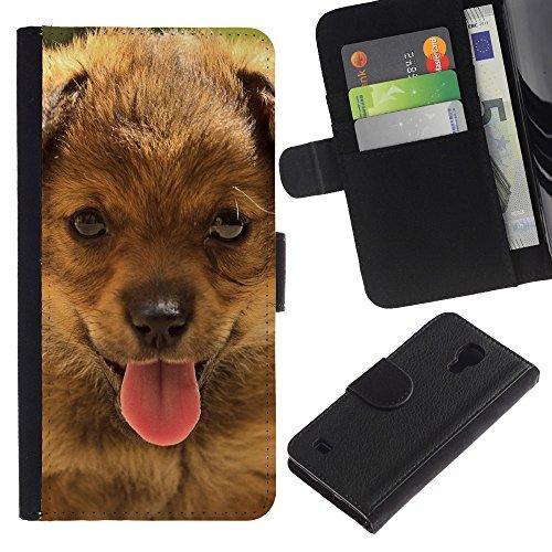 EuroCase - Samsung Galaxy S4 IV I9500 - bernese mountain dog small puppy - Cuero PU Delgado caso cubierta Shell Armor Funda Case Cover