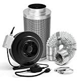 6 inch duct fan carbon filter - GROWNEER 6 Inch 440 CFM Inline Duct Fan w/Speed Controller, 6 Inch Carbon Filter, 25ft Air Ducting w/2 Clamps, Grow Tent Ventilation Combo