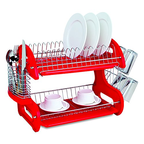 Home Basics Dish Plastic Drainer, 2-Tier, Red