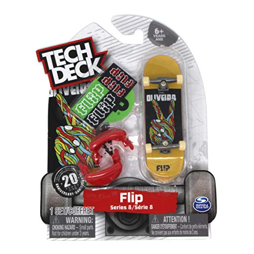 - Tech Deck Series 8 Flip Skateboards Luan Oliveira Peace Rare Fingerboard with Trainer Clips