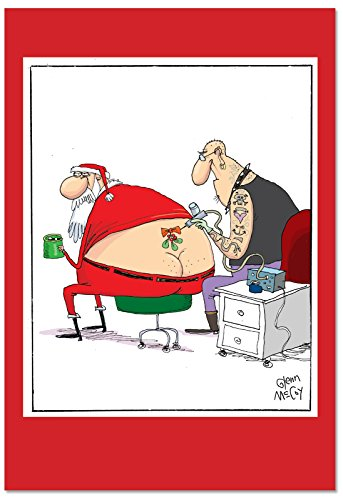 (12 'Santa Tattoo' Boxed Christmas Cards with Envelopes 4.63 x 6.75 inch, Santa Claus with Mistletoe Tattoo Holiday Notes, Funny Adult Humor Christmas Cards, Cartoon Christmas Notes B2474XSG)