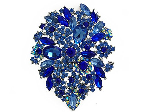 yle Crystal Rhinestone Droplets Flower Art Nouveau Brooch Pins Pendants B10390500 (Blue) ()