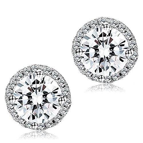 Thunaraz 1-2 Pairs Halo Stud Earrings 18K White Gold Plated Round Square Brillant Cut Earrings with Gift Box (B:A Pair Round CZ) - Basic Black Earrings