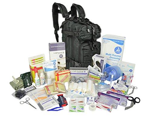 (Lightning X Stocked EMS/EMT Trauma & Bleeding First Aid Responder Medical Backpack + Kit - Black)