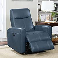 Christies Home Living Eli Collection Contemporary Leather Upholstered Living Room Electric Recliner Power Chair, Navy Blue