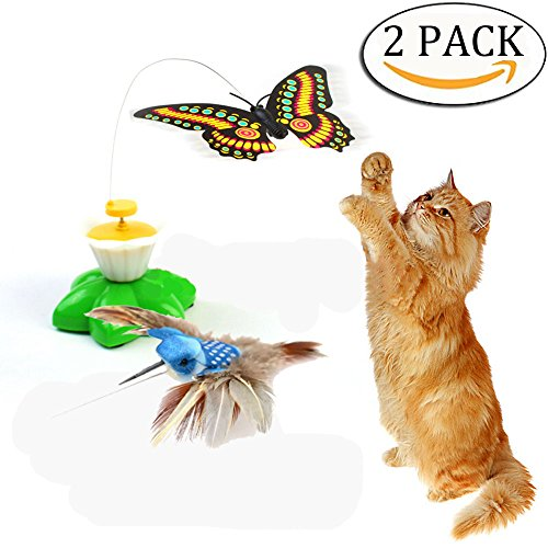 Butterfly Cat Toy - 2 Pack Funny Butterfly Toy Bird Toy for Cats Toys,Pet Cats Funny Rotating Electric Flying Butterfly & Bird Interactive Cat Toy for Kitten and Puppy Multicolor