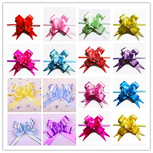 UDTEE Elegant/Beautiful/Festival Medium Size Red/Pink/Rose/Yellow/Green/Blue/Purple Color(Random Colors) PVC Pull Bows/Christmas Gift Knot with Ribbon Strings to Wrap the Box or Floral Decoration, Pack of 100