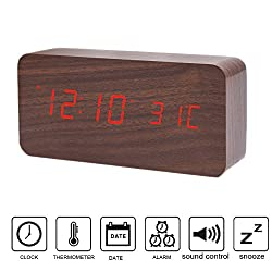 Wooden LED Alarm Clock, Colisivan Modern Stylish Wood-shaped Voice Control Digital Desk Alarm Clock Displays Time Calendar and Temperature with Soft Night Light LED, Upgrade Edition (Wooden + Red)