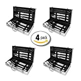Grill Set 4-Pack: 12 Piece Stainless Steel Utensil Tool Set for Indoor Outdoor Cooking – Includes Spatula, Tongs, Skews, Brush & Carving Knife – The Perfect Gift