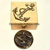 Solid Brass Sundial Compass Maritime Vin...