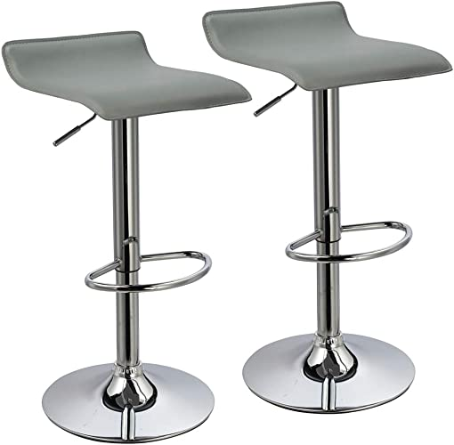 Duhome Bar Stools Modern Contemporary Adjustable with Leather Seat Bar Chairs Set of 2 Grey