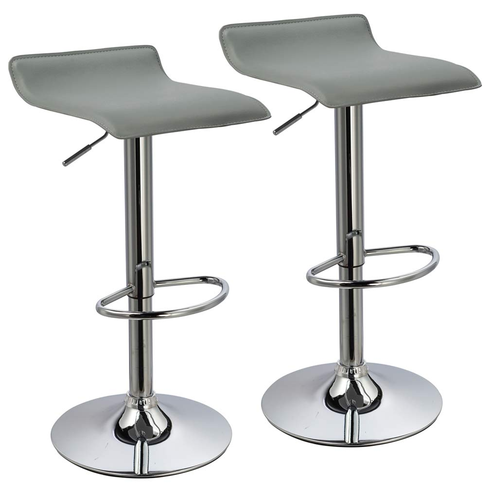 Duhome Bar Stools Modern Contemporary Adjustable with Leather Seat Bar Chairs Set of 2(Grey) by Duhome Elegant Lifestyle
