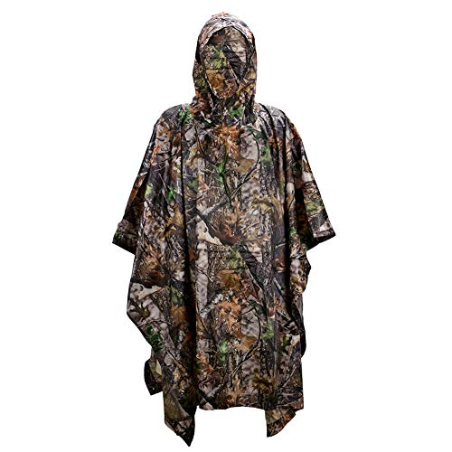(LOOGU Military Camouflage Waterproof Rain Poncho for)