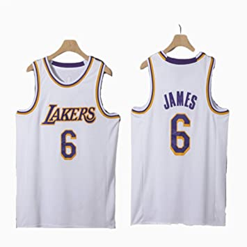 Y&J James # 6 Lakers Baloncesto Jersey Productos Bordados White-M ...