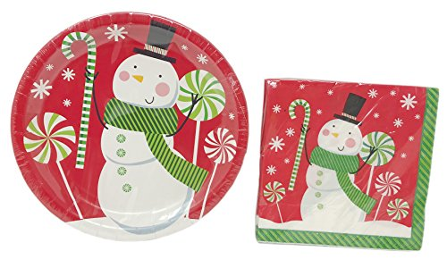 Decorated Snowman (Christmas House Decorated Holiday Paper Plate and Napkin Set ~ Serves 18 (Happy Snowman))