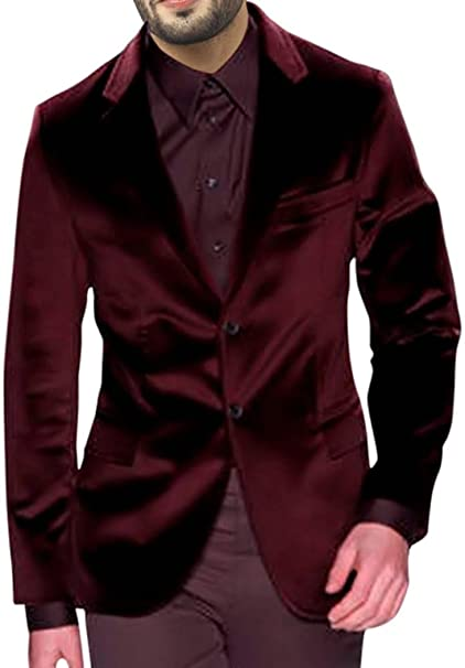 INMONARCH Mens Slim fit Casual Maroon Velvet Blazer Sport ...