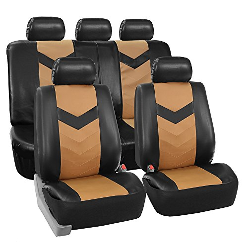 FH GROUP FH-PU021115 Synthetic Leather Full Set Auto Seat Covers, Tan Black Color - Fit Most Car, Truck, Suv, or Van -