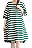 Mordenmiss Women's Daily Pullover Stripes Loose Dresses (L, Green)