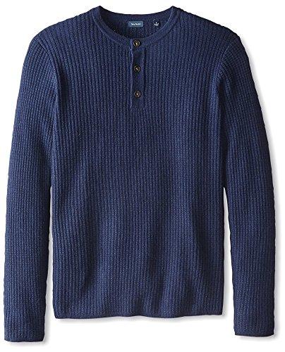 Thirty Five Kent Men's Cashmere Three Button Thermal Henley, British Blue, M Cashmere 3 Button