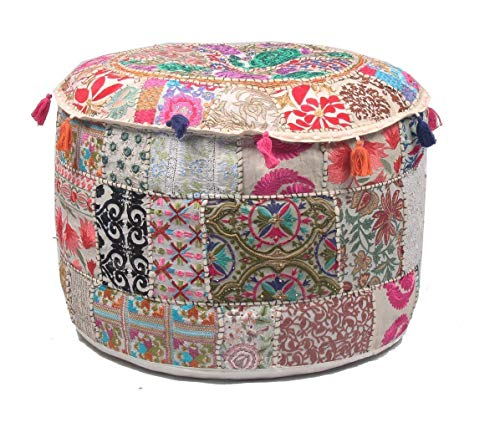 STALLION COTTON CLOTHING Decorative Indian Pouf Ottoman Round Patchwork Ethnic Floor Décor Ottoman (Size: 22X14X22 Inch) Only Cover, Filler not Included