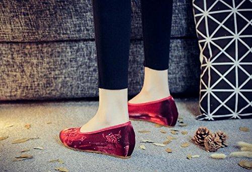 Femme Vin pour Rouge pour Lazutom Vin Ballerines Ballerines Lazutom Lazutom Rouge Femme nqx4Rf