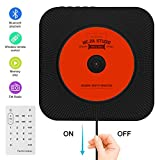 Portable CD Player, Searick Bluetooth Wall Mountable CD Music Player Home Audio Boombox with Remote Control FM Radio Built-in HiFi Speakers, MP3 Headphone Jack AUX Input Output (Black)
