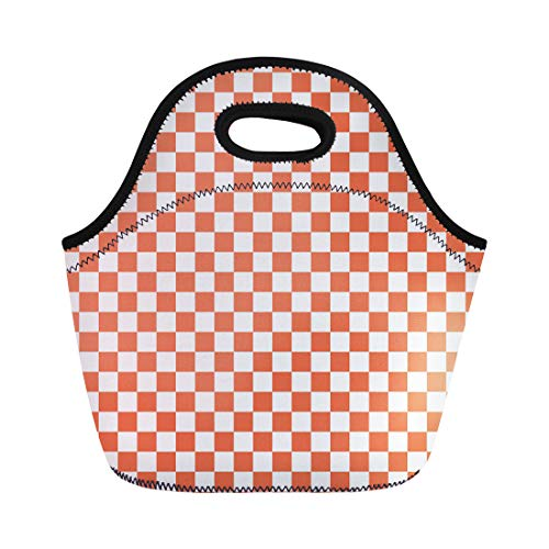 Semtomn Lunch Tote Bag Checkerboard White and Burnt Sienna Checkered Abstract Graphic Grid Reusable Neoprene Insulated Thermal Outdoor Picnic Lunchbox for Men Women (Sienna Soup)