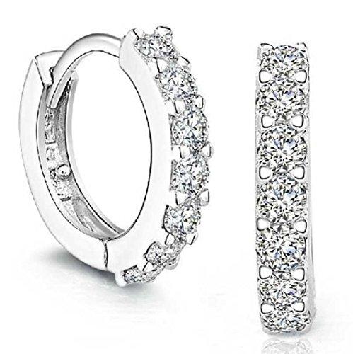 Sterling Silver Earrings Studs,vmree Rhinestones Hoop Diamond Stud Earrings for Girl Women ()