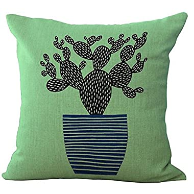Green plants cactus bonsai throw Pillow Case Cotton Blend Linen Cushion Cover Sofa Decorative Square 18 Inches family life (8)