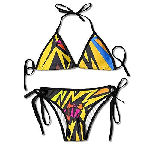 HEYUHUI Explore Op Art, Black White, and More! Multi-Color Women's Sexy 2 PCS Swimsuit Triangle Bikini Set Beachwear