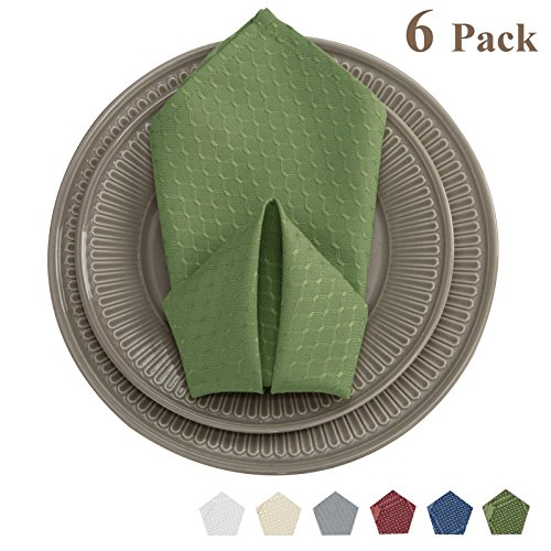 (VEEYOO 20x20 Cloth Napkins Waffle Jacquard Polyester Spillproof for Wedding Party Restaurant Kitchen Dining Table Dinner Napkins, Set of 6, Sage Green)