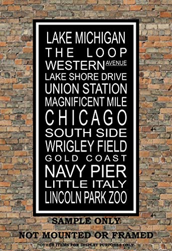 Chicago Subway Sign Print - Lake Michigan, South Side, Navy Pier, Lincoln Park Zoo - Multiple Sizes